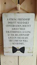 "Handmade Rectangle ""Friendship"" Quote Gift Plaque Cream Black Bow"