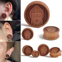 PAIR-MEDITATING BUDDHA ORGANIC WOOD -FLESH TUNNELS-Ear Gauges-Ear Plugs