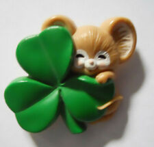 Hallmark Vintage 1983 Irish Mouse Shamrock Clover Pinback Brooch St. Patrick Pin