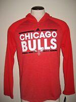 Adidas Mens NBA Chicago Bulls Long Sleeve Climalite Hoodie Shirt Red Black NWT
