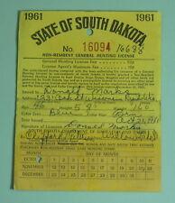 1961 South Dakota Non Resident General Hunting Application License