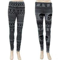 SKULLS or AZTEC KNITTED THERMAL LEGGINGS  GOTHIC