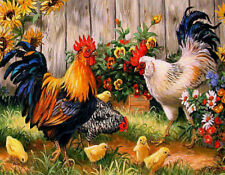 Diamond Painting Kit Like Cross Stitch 45x35cm Cock Hen and Chicken D1027