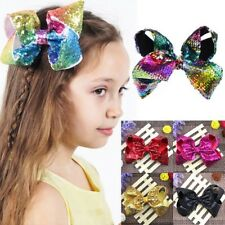 New Baby Girls JOJO Sequins Large Bowknot Rainbow Bows Hairpin Hair Pin Glitter