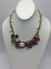 $75 Betsey Johnson HARLEM SHUFFLE Peace Love Charm Statement Necklace BH1A