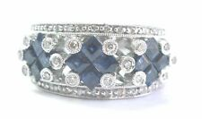 Fine Gem Sapphire Diamond White Gold Jewelry Band Ring 14KT 2.08Ct