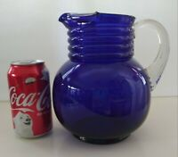 Vintage Cobalt Blue Glass Ringed Neck Pitcher w/Applied Ribbed Handle.  PRETTY