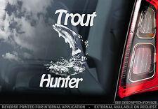 TROUT HUNTER-Finestra Auto Adesivo-che saltano, PESCI, segno di pesca-non, Luccio, barca
