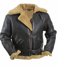 Men's RAF B3 Bomber Brown WWII Real Shearling Sheepskin Fur Leather Jacket