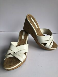 BANDOLINO Haylee White Sz8 1/2 Shoes Wedge Sandals Open Toe Heel Cork Super Cute