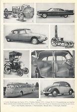 Auto Motorrad Druck Print aus den 50er Jahren Cadillac Cugnot Puch-Moped Daimler