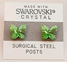 Green Crystal Butterfly Stud Earrings 10mm Light Made with Swarovski Elements