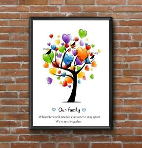 LOCKDOWN 2020 PERSONALISED INSPRIATIONAL FAMILY HEART TREE RAINBOW