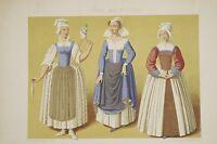 Costume fin du XVI° s Paysannes Chambrière de Saumur Lithographie XIX° Racinet