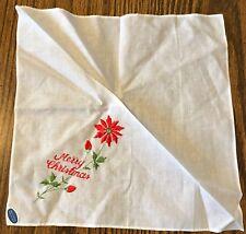 "Sweet New Red Merry Christmas Poinsettias Handkerchief Hankie! w Sticker 11"""