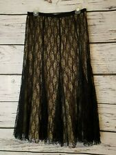 Laura Ashley Womens Black Nude Lace Skirt Elastic Waist Size Large L