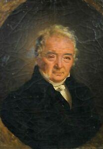 Tableau ancien huile portrait d' homme de qualité école Française début XIXème