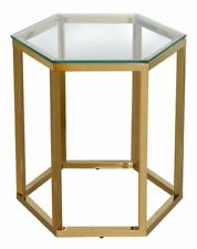 Hexagon Gold Metal End Table Clear Glass - Big Living