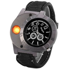 HOT!Huayue Electronic Lighter Quartz Watch USB Rechargeable (Black Silver)