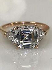 Asscher Cut Engagement Wedding Ring 4.50ctw With Trillions 14kt Rose Gold #4742