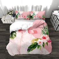 Flamingo Floral Quilt Doona Duvet Cover Set Queen/Double/Single/King Bed Linen