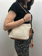 FOSSIL Natural Tan Woven Straw Brown Leather Zip Top Small Hand Bag Purse