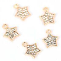 10Pcs Gold Five-Pointed Star Crystal Charm Pendant DIY Necklace/Bracelet Making