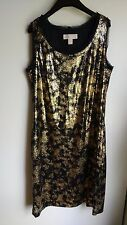 Michael Kors M Sequin Gold Black Modern Lined Shift Excellent Condition Evening