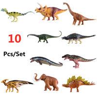 10Pcs Small Dinosaur Animal Figure T-Rex Mammoth Mosasaurus Stegosaurus Kid Toys