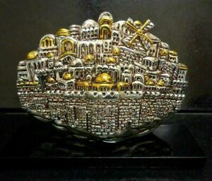 JERUSALEM  925 STERLING SILVER/GOLD MOUNTED CITY OF JERUSALEM DESIGN SCULPTURE