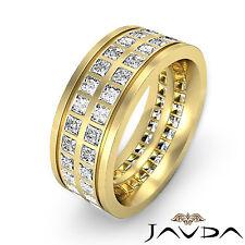Genuine Princess Diamond Mens Eternity 9mm Ring 18k Yellow Gold Wedding Band 3Ct