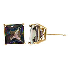 Mystic Topaz Stud Earring 8mm 14kt Yellow Gold