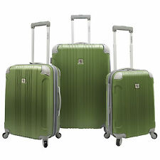 Beverly Hills Country Club 3pc Malibu Newport Green Spinner Suitcase Luggage Set