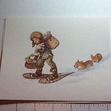 #B758- Vintage Unused Tasha Tudor Xmas Card Boy In Snow Shoes With 2 Corgis
