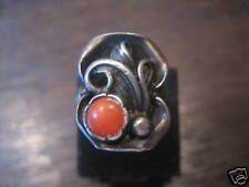 Art Deco Ring floral Rote Koralle Handarbeit 16,25 mm