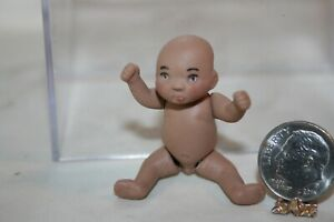 Miniature Dollhouse Porcelain 5 Way Jointed Anatomically Correct Dark Skin Baby