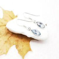 Blautopas blau Design modern Ohrringe Ohrhänger Hänger 925 Sterling Silber neu