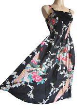 Strappy summer beach dress elasticated size 10-16 BLACK PEACOCK FLORAL PRINT new