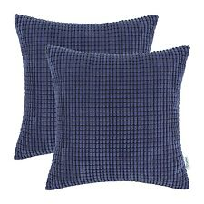 Pack of 2 Cushion Cover Pillows Cases Corduroy Corn Striped 45x45 Navy Blue
