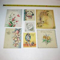 VINTAGE WEDDING CARDS LOT OF 7 MID-CENTURY GREETING CARDS USED ART SCRAPBOOKING