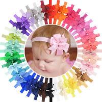 40pcs 3in Soft Grosgrain Ribbon Hair Bow Headbands for Baby Girls Infant Toddler