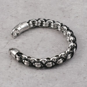 Braided Leather Stainless Steel Rolo chain bracelet 10MM 8.5'' Men Nice bangle