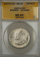 1923-S Monroe Commemorative Silver Half Dollar Coin ANACS MS-60 Details Cleaned