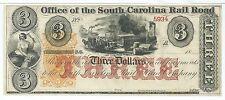 South Carolina Charleston Rail Road $3 18XX Wharf Train Horse Cotton CH CU #5934