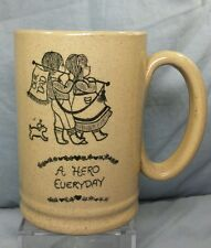 "Vintage Moira Stoneware Pottery Stein Cup Mug ""A Hero Everyday"" Dad Father's Day"