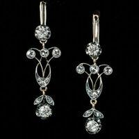 14K White Gold Over 2.10 CT White Round Diamond Leaf Motif Earrings 925 Silver