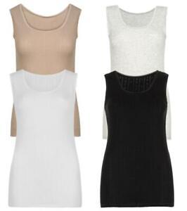 M&S Pointelle Thermal Ladies Built up Shoulder Vest Black Ivory Beige Grey 6-22