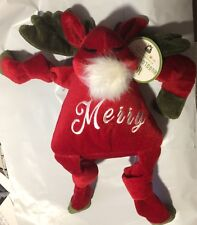 """HUGGLEHOUNDS LARGE 14"""" HOLIDAY MERRY MOOSE KNOTTIES DOG TOY. FREE SHIP TO USA"""
