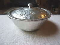 "Vintage Hammered Aluminum Bowl With Lid / Designs On Lid And Handles "" BEAUTIFUL"