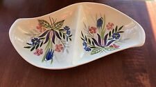 Vintage Red Wing Pottery CountryGarden Divided SCurve Celery Vegtbl Dish Floral